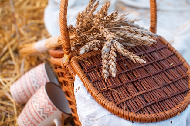 Basket with red apples costs on the hay
