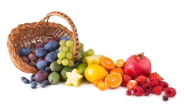 Корзина со спелыми свежими фруктами в виде радуги