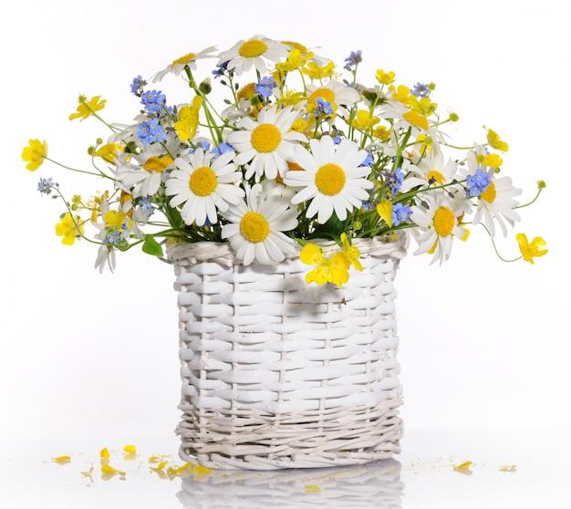화이트에 봄 꽃 바구니