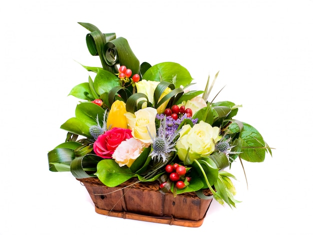 Basket with various colors. a beautiful design bouquet.