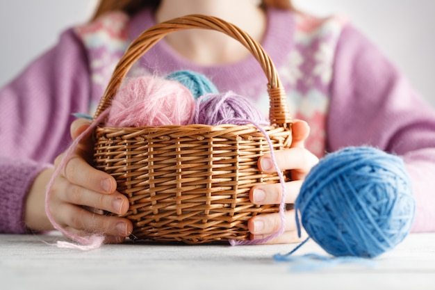 Basket of wool clew