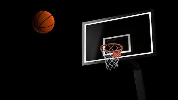 공과 후프와 농구 경기장