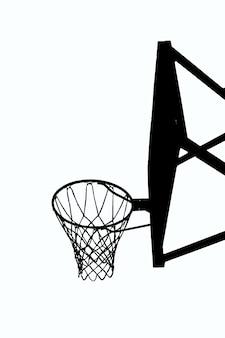 흰색 클리핑 배경에 농구 백보드 검은 윤곽선 그림