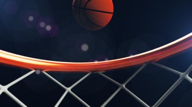 Баскетбольный мяч падает в обруч