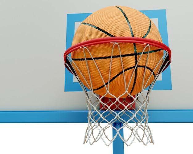 Баскетбольный мяч падает в баскетбольное кольцо в 3d-рендере