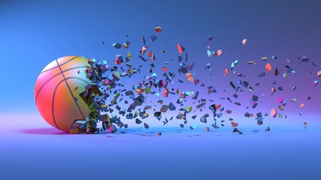 Баскетбольный мяч падает на мелкие кусочки в неоновом освещении, 3d иллюстрация