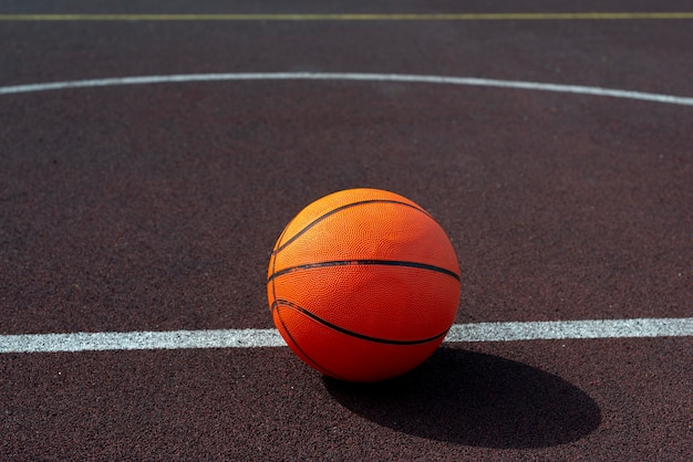 Basketball ball on  field high angle view