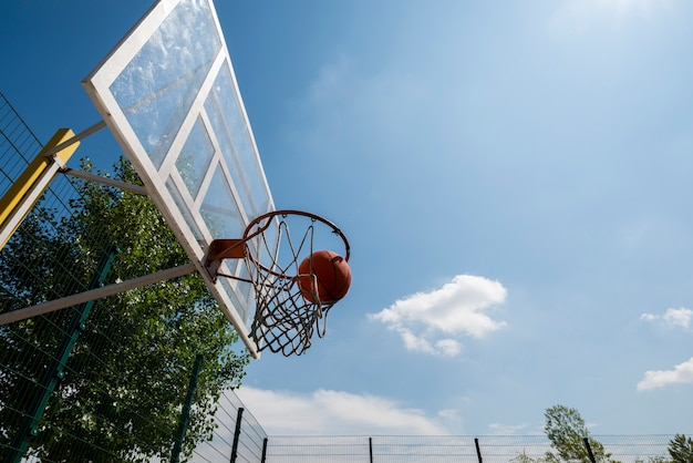 Basketball ball in hoop low angle shot