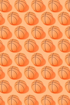 Basketball ball pattern on orange background. sport and competition.copy space. 3d illustration