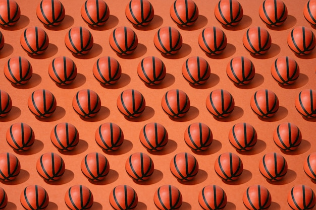 Basketball ball pattern on red background. sport and competition.copy space. 3d illustration