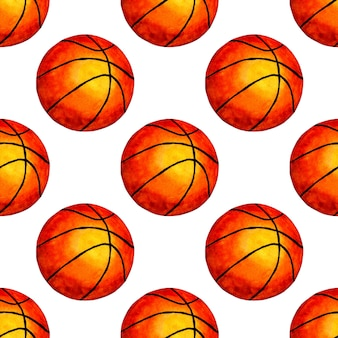 Basketball ball seamless background watercolor illustration perfect for wallpapers covers wrapping