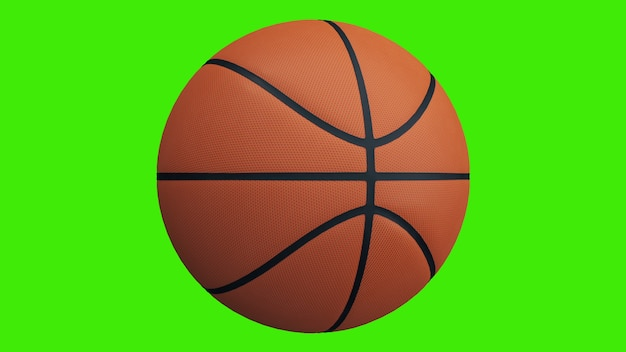 Basketball ball spinning on a green screen - chromakey background. 3d rendering.