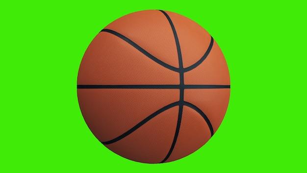 녹색 화면에서 회전하는 농구 공 - 크로마키 배경. 3d 렌더링.