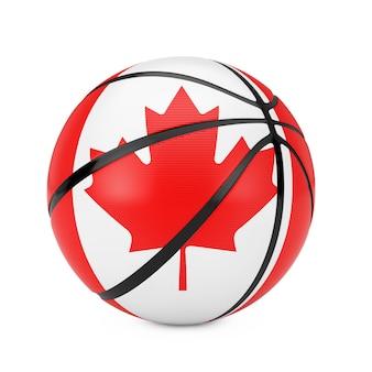 白い背景の上のカナダの旗とバスケットボールのボール。 3dレンダリング