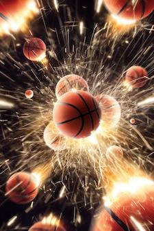 火の火花が作用するバスケットボールボール。黒孤立