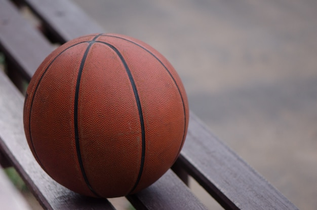 Basketball on bench