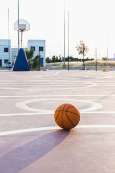 Basketball in court at outdoors