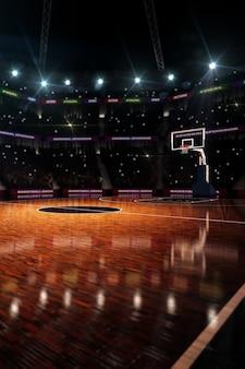 バスケットボールのコート。スポーツアリーナ。 3dレンダリングの背景
