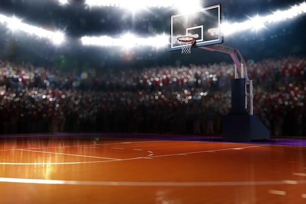 バスケットボールコートスポーツアリーナ3dレンダリングの背景