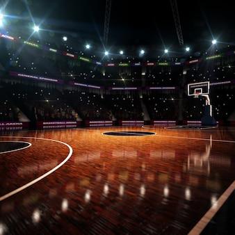 Баскетбольная площадка. спортивная арена. 3d визуализация