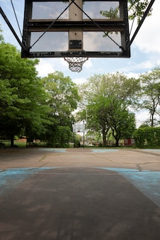 Basketball field outdoors in a park