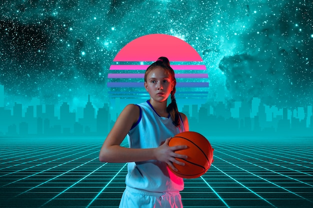 Баскетболистка красивая фоновая синтезаторная волна и футуристическая паровая волна в стиле ретро