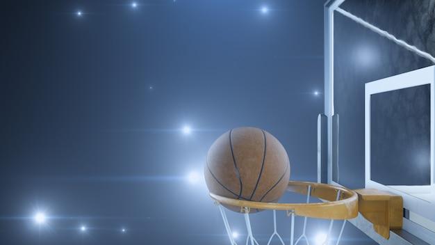 Баскетбол попал в корзину в замедленном темпе со вспышками камер