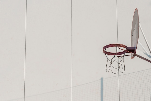 Basketball hoop against wall