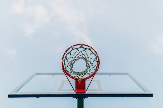Basketball hoop on the background of the forest in the evening