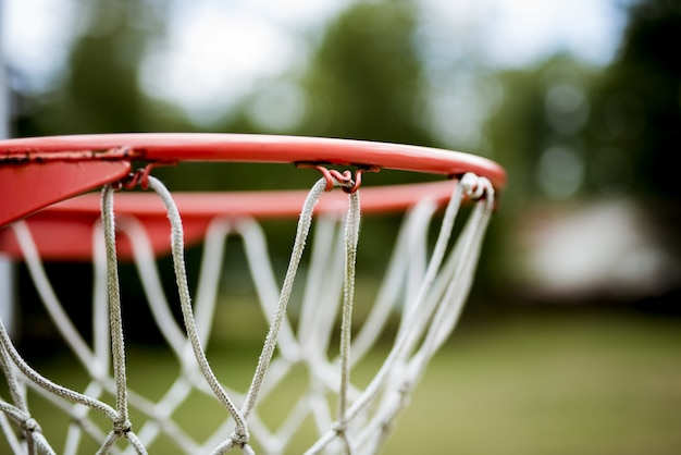 Basketball hoop closeup