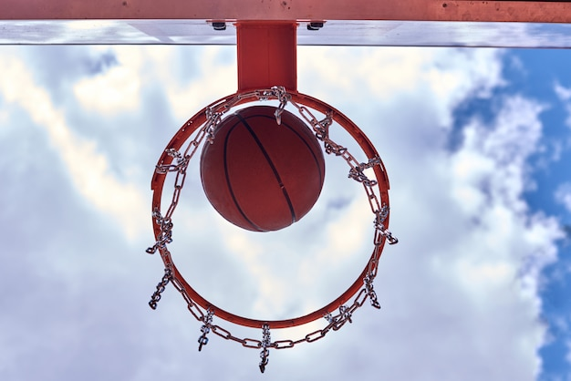 Basketball hoop from downside view