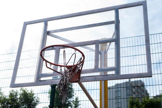 Basketball hoop low angle shot