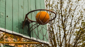 Basketball hoop on wooden board