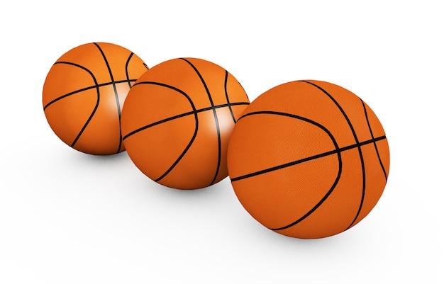 革のボールをドリブルで遊んだり、競技トーナメントの3dレンダリングを通過したりするチームのレジャー活動のスポーツとフィットネスのシンボルとして、白い背景に分離されたバスケットボール