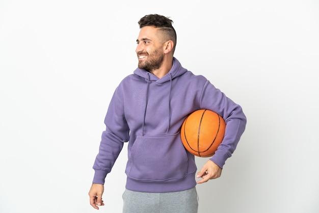 농구 선수 남자 흰색 찾고쪽에 고립
