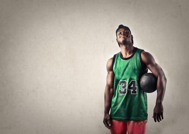Basketball player smiling
