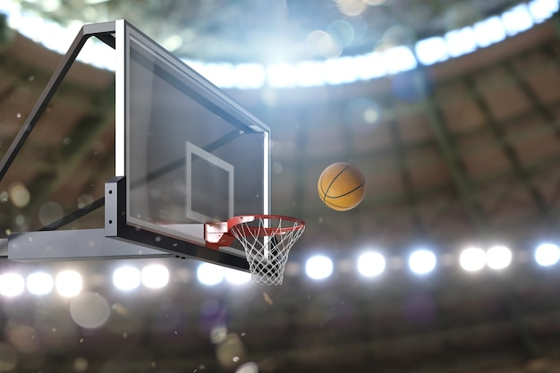 Баскетбольная сцена мяча, который попадает в корзину