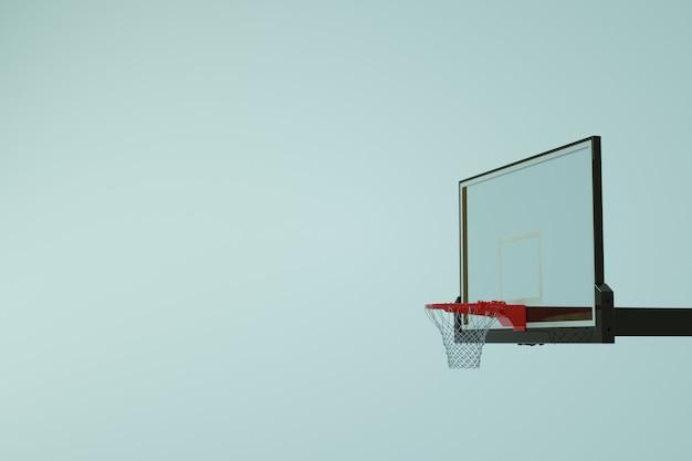 バスケットボールスポーツリング、ボールを投げるためのバスケットボールリングのアイソメトリックモデル。白い孤立した背景にリング。 3dグラフィックス。閉じる