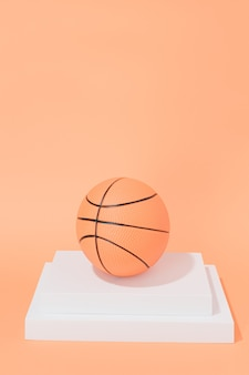 Basketball on structures on orange background. sport and competition.copy space. 3d illustration