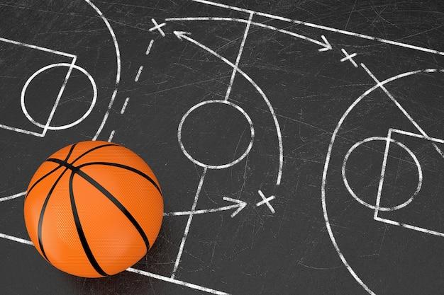 농구 전술 개념입니다. 농구 코트와 게임 전략 및 전술 계획이 있는 검은 칠판 위에 농구 공이 있습니다. 3d 렌더링