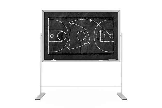 농구 전술 개념입니다. 농구 코트와 게임 전략 및 전술 계획이 있는 검은 칠판. 3d 렌더링