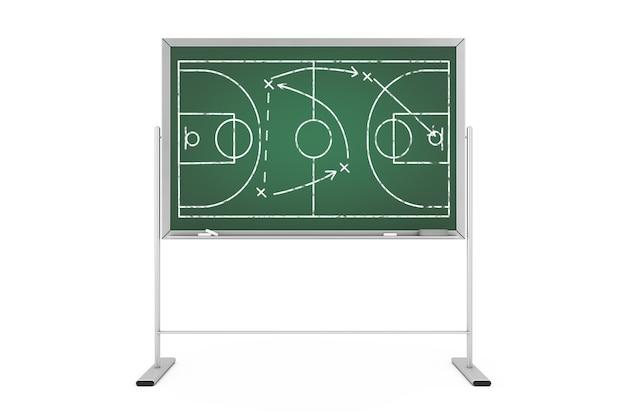 농구 전술 개념입니다. 농구 코트와 게임 전략 및 전술 계획이 있는 녹색 칠판. 3d 렌더링