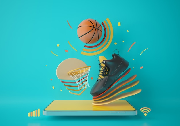 스마트폰으로 농구. 스포츠 응용 프로그램 온라인 게임. 농구 훈련 프로그램. 스포츠 컨셉 디자인. 녹색 배경 복사 공간입니다. 온라인 쇼핑 스토어 모바일 연결. 3d 일러스트레이터