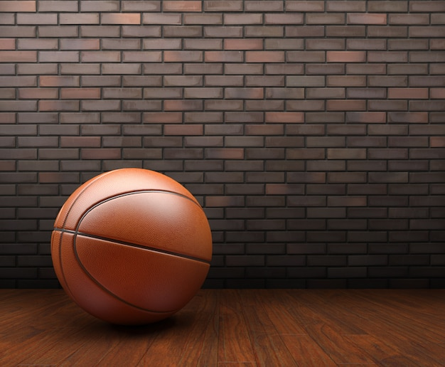 Basketball on wood with brick wall background