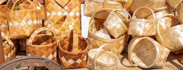 Baskets are made by hand from bast.
