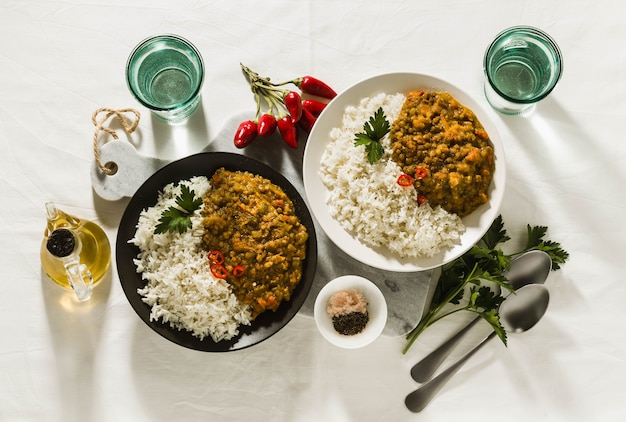 Basmati rice with curry from vegetables and lentils