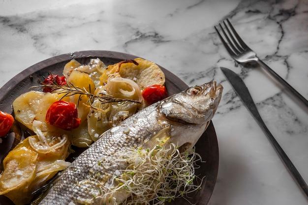 Bass fish dish assortment