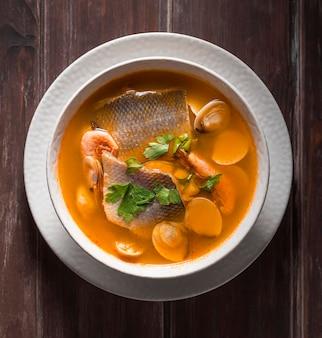 Bass fish soup assortment