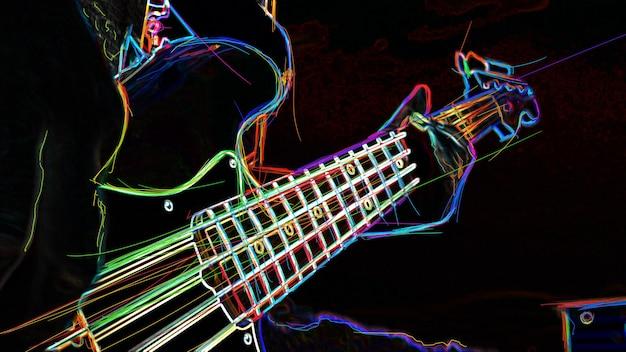 Бас-гитара . абстрактная цветная неоновая живопись.