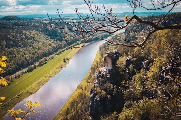 Bastei park, elbe river, sandstone mountains. saxon switzerland, germany